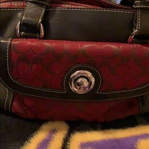 Coach purse red and brown